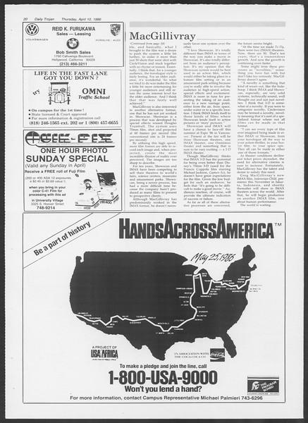 Daily Trojan, Vol. 100, No. 57, April 10, 1986