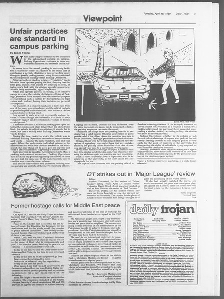 Daily Trojan, Vol. 108, No. 60, April 18, 1989