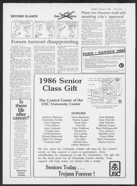 Daily Trojan, Vol. 100, No. 18, February 04, 1986