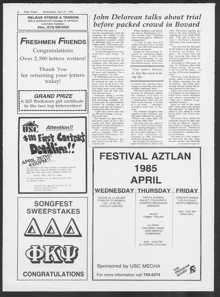 Daily Trojan, Vol. 98, No. 66, April 24, 1985