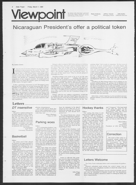 Daily Trojan, Vol. 98, No. 34, March 01, 1985