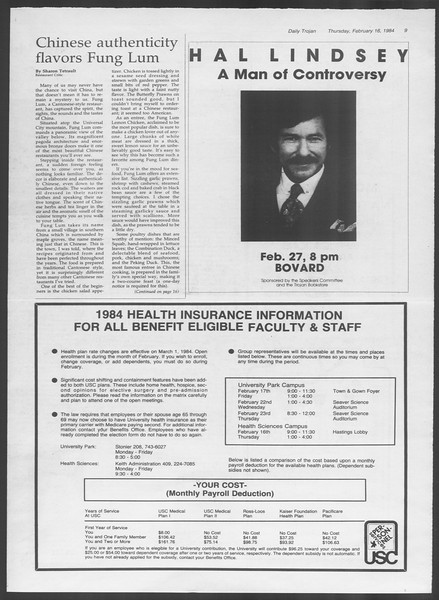 Daily Trojan, Vol. 95, No. 28, February 16, 1984