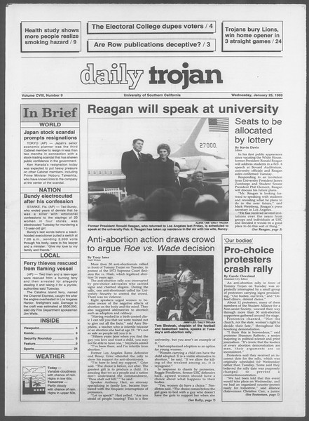 Daily Trojan, Vol. 108, No. 9, January 25, 1989