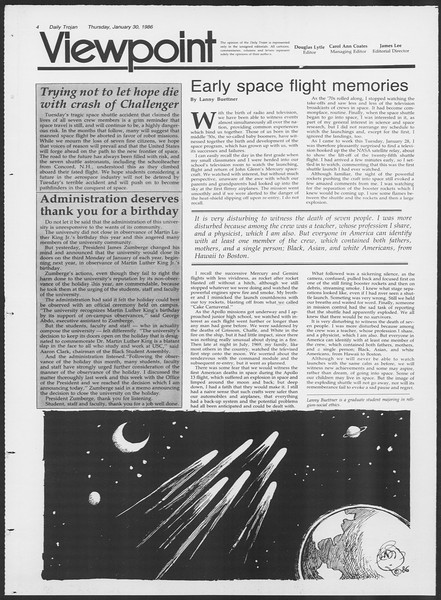 Daily Trojan, Vol. 100, No. 15, January 30, 1986