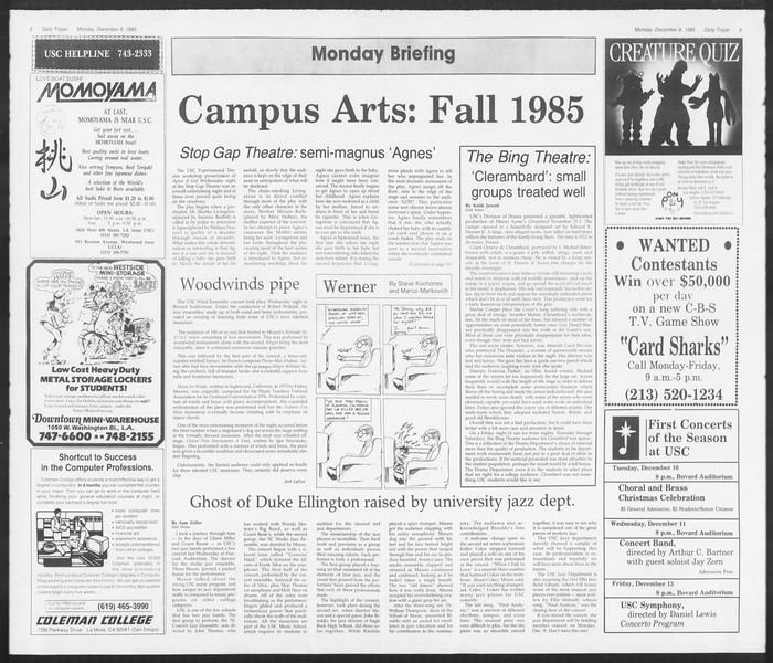 Daily Trojan, Vol. 100, No. 63, December 09, 1985