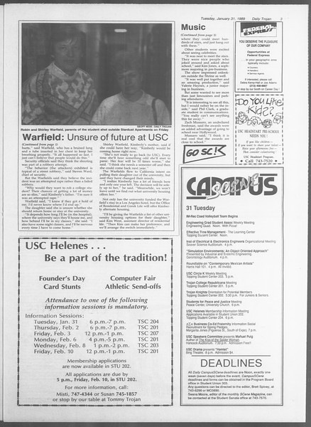 Daily Trojan, Vol. 108, No. 13, January 31, 1989