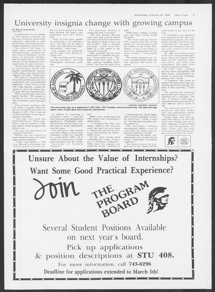 Daily Trojan, Vol. 100, No. 32, February 26, 1986