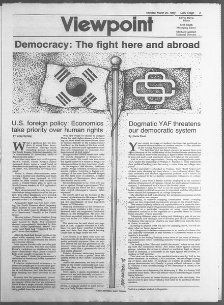 Daily Trojan, Vol. 108, No. 45, March 20, 1989