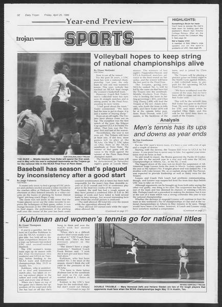 Daily Trojan, Vol. 100, No. 68, April 25, 1986