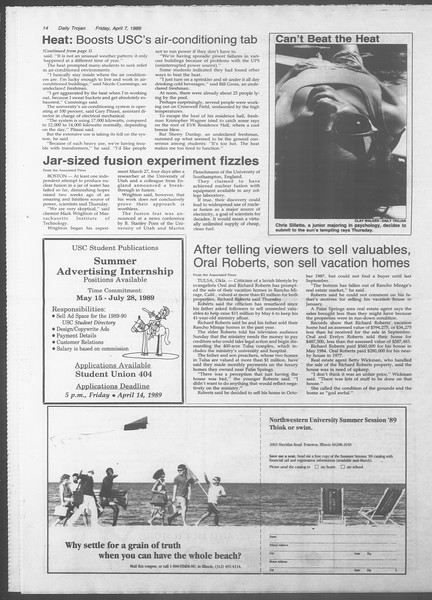 Daily Trojan, Vol. 108, No. 53, April 07, 1989