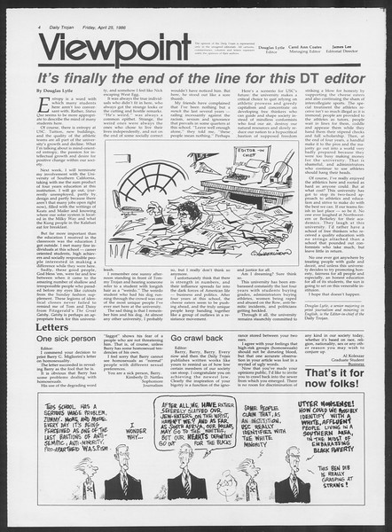 Daily Trojan, Vol. 100, No. 68, April 25, 1986