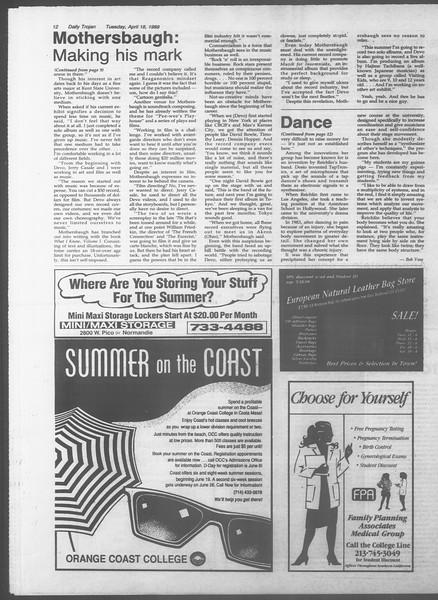 Daily Trojan, Vol. 108, No. 60, April 18, 1989