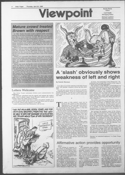 Daily Trojan, Vol. 108, No. 62, April 20, 1989