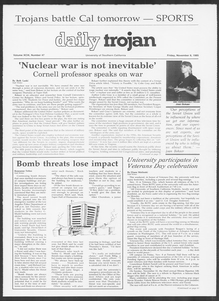 Daily Trojan, Vol. 100, No. 47 [sic], November 08, 1985