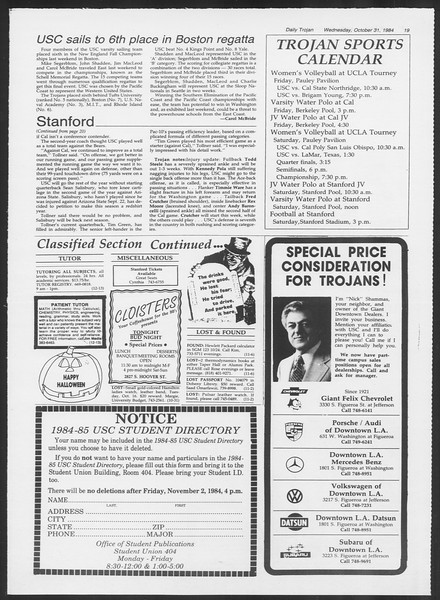 Daily Trojan, Vol. 97, No. 42, October 31, 1984