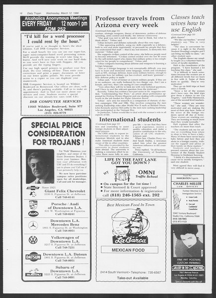 Daily Trojan, Vol. 100, No. 42, March 12, 1986