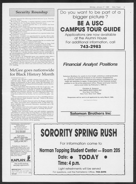 Daily Trojan, Vol. 100, No. 12, January 27, 1986