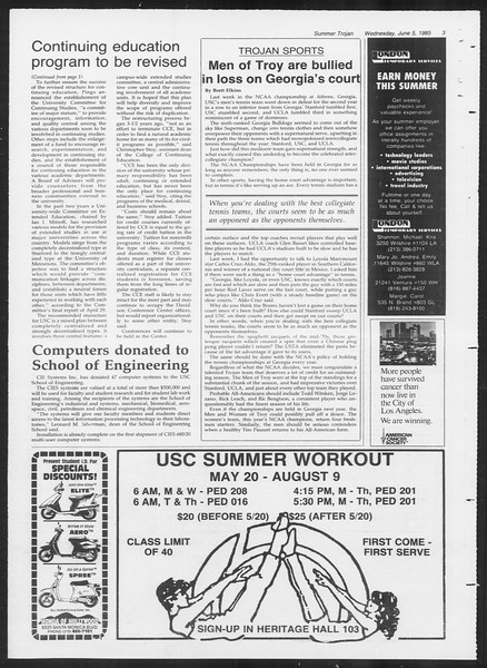 Summer Trojan, Vol. 99, No. 3, June 05, 1985