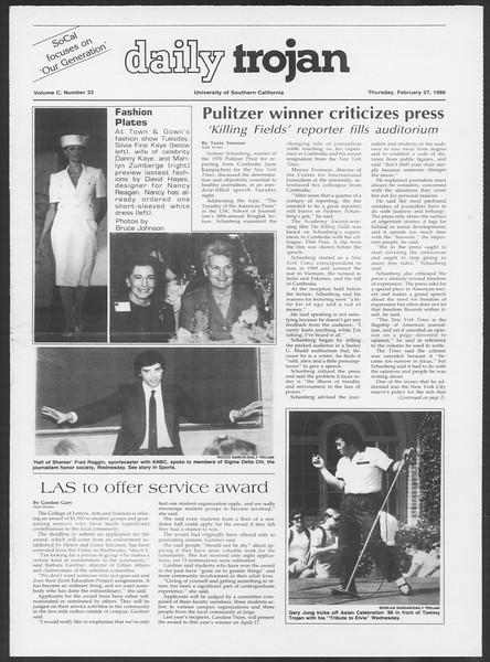 Daily Trojan, Vol. 100, No. 33, February 27, 1986
