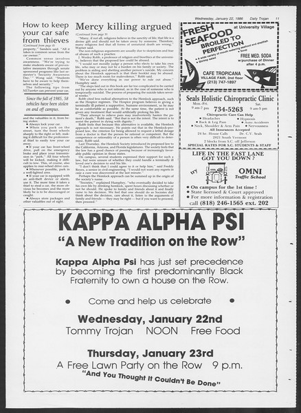 Daily Trojan, Vol. 100, No. 9, January 22, 1986