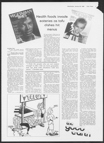 Daily Trojan, Vol. 100, No. 14, January 29, 1986