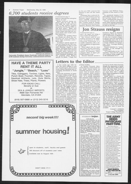 Summer Trojan, Vol. 99, No. 1, May 22, 1985