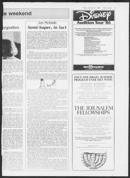 Daily Trojan, Vol. 100, No. 16, January 31, 1986