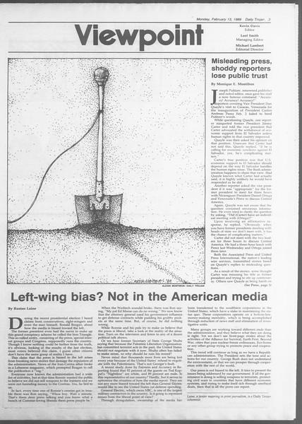 Daily Trojan, Vol. 108, No. 22, February 13, 1989