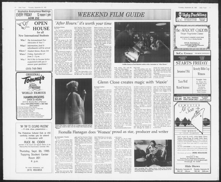Daily Trojan, Vol. 100, No. 18, September 26, 1985