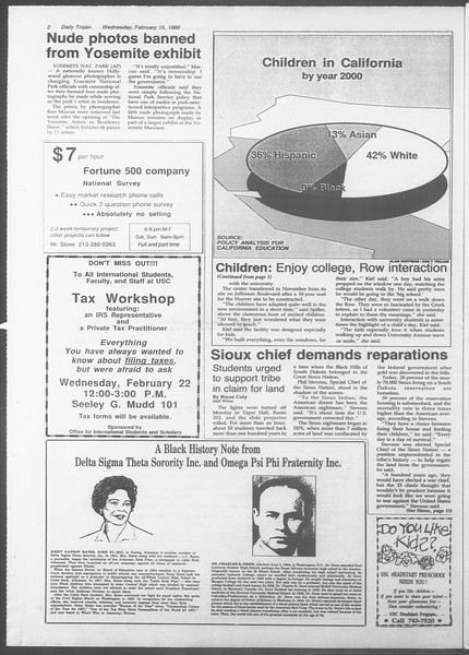 Daily Trojan, Vol. 108, No. 24, February 15, 1989