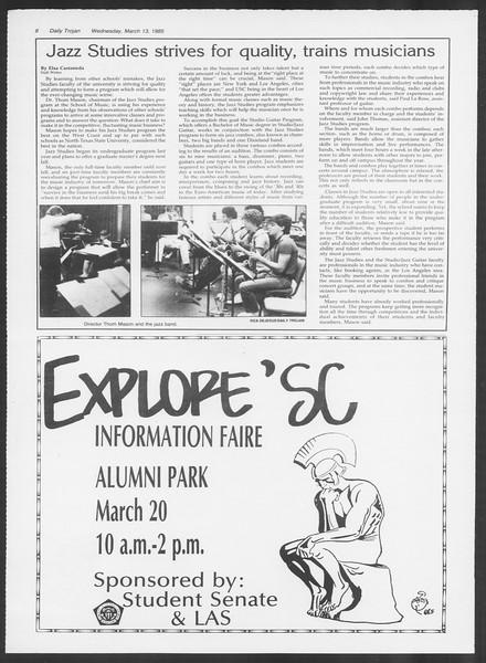 Daily Trojan, Vol. 98, No. 42, March 13, 1985