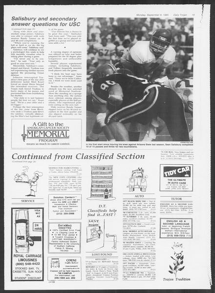Daily Trojan, Vol. 100, No. 5, September 09, 1985