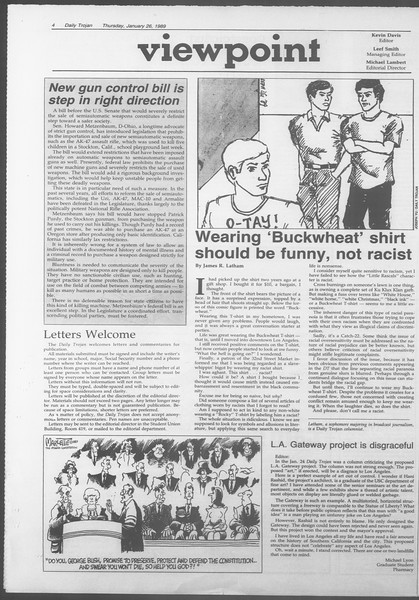 Daily Trojan, Vol. 108, No. 10, January 26, 1989