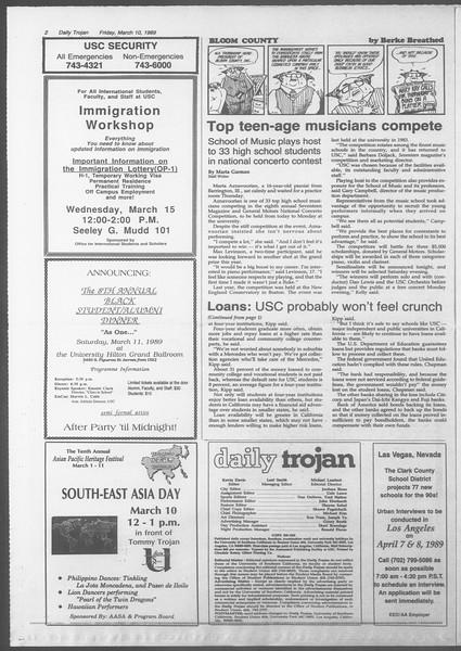 Daily Trojan, Vol. 108, No. 39, March 10, 1989