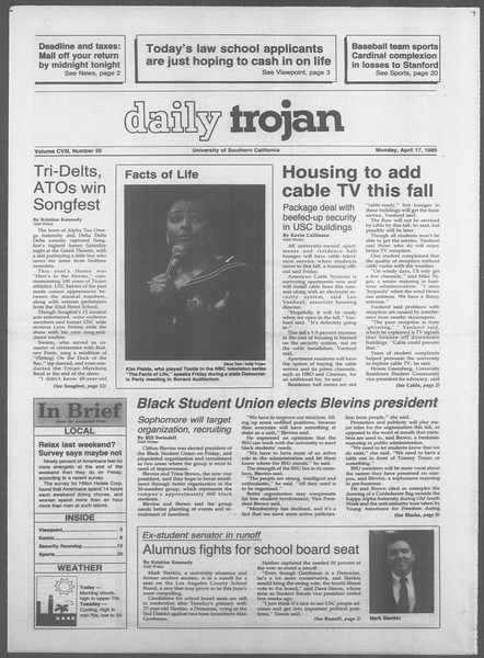 Daily Trojan, Vol. 108, No. 59, April 17, 1989