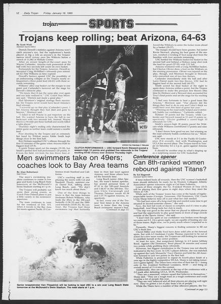 Daily Trojan, Vol. 98, No. 6, January 18, 1985
