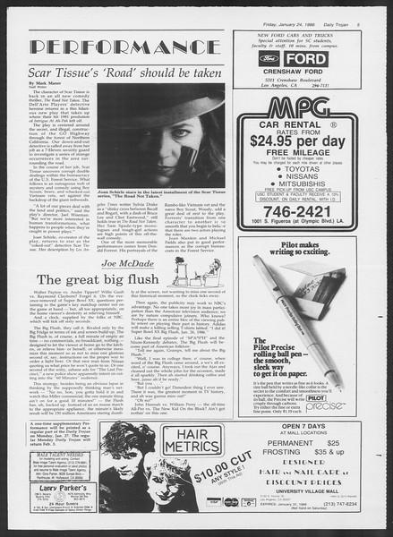 Daily Trojan, Vol. 100, No. 11, January 24, 1986