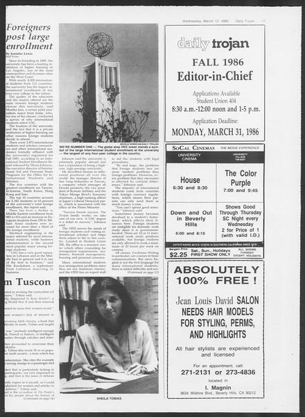 Daily Trojan, Vol. 100, No. 42, March 12, 1986