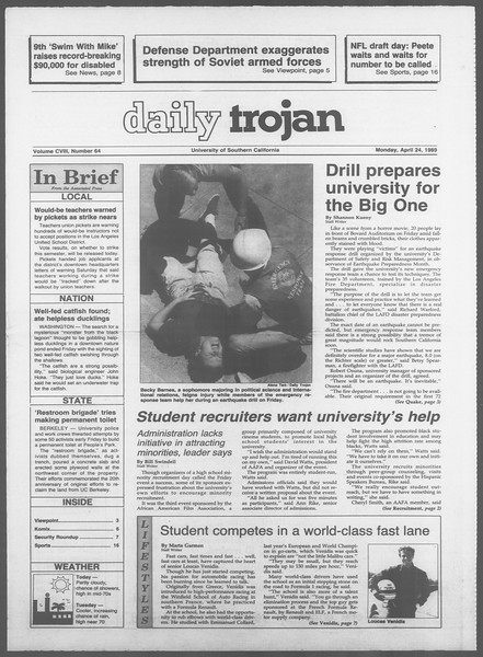 Daily Trojan, Vol. 108, No. 64, April 24, 1989