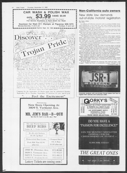Daily Trojan, Vol. 100, No. 8, September 12, 1985