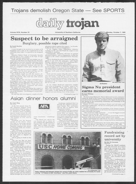 Daily Trojan, Vol. 100, No. 25, October 07, 1985