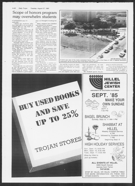 Daily Trojan, Vol. 100, No. 1, August 27, 1985