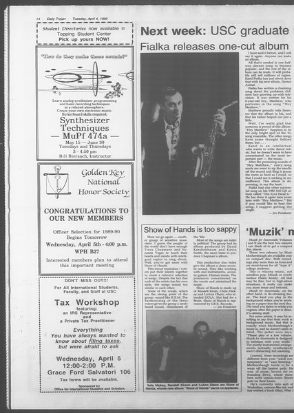 Daily Trojan, Vol. 108, No. 50, April 04, 1989
