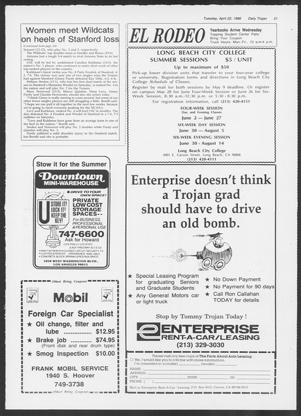 Daily Trojan, Vol. 100, No. 65, April 22, 1986