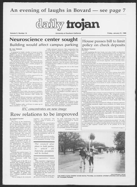 Daily Trojan, Vol. 100, No. 16, January 31, 1986