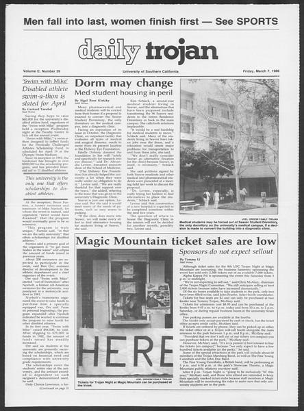 Daily Trojan, Vol. 100, No. 39, March 07, 1986