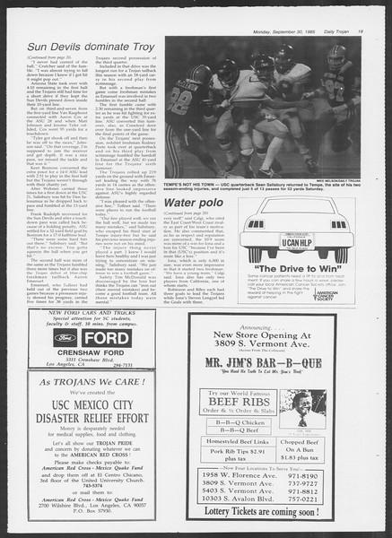 Daily Trojan, Vol. 100, No. 20, September 30, 1985