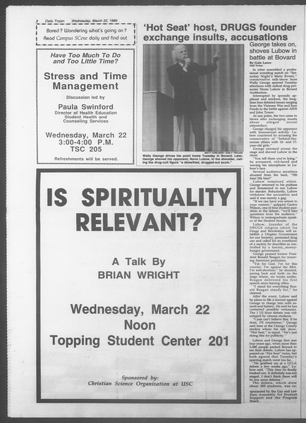 Daily Trojan, Vol. 108, No. 47, March 22, 1989
