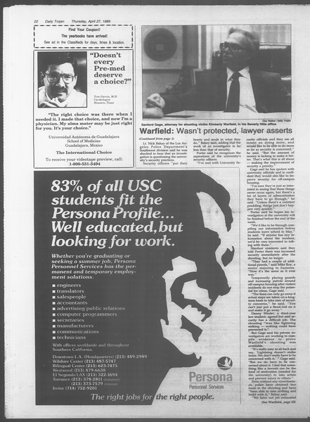 Daily Trojan, Vol. 108, No. 67, April 27, 1989