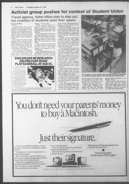 Daily Trojan, Vol. 108, No. 5, January 19, 1989
